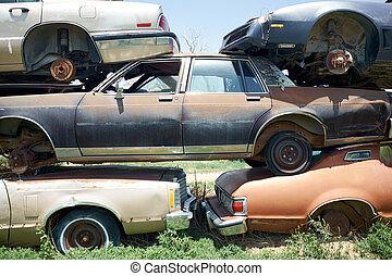 gammal, bilar, säkerhetsbrytare, rostning, gård, stack