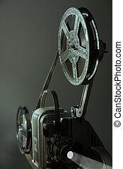 gammal, bio, projektor, på, a, skum fond