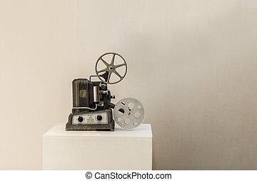 gammal, bio, projektor