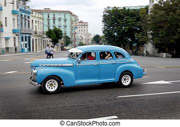 gammal, blå bil, och, kuban, gata