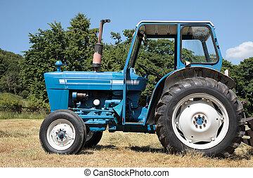 gammal, blå, traktor