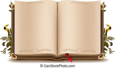 gammal, bok, öppna