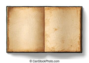 gammal, bok, öppna, sidor, tom