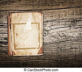 gammal, bok, på, a, ved, bakgrund