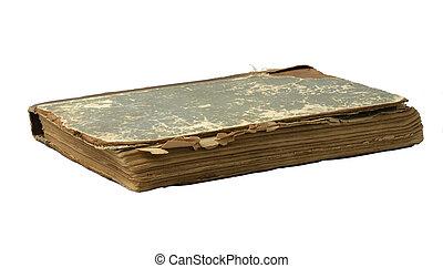 gammal, bok, på, a, vit fond
