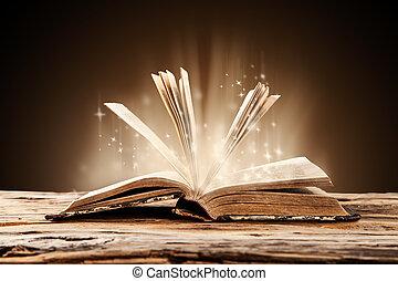 gammal, bok, på, trä tabell