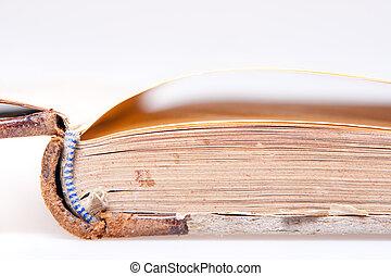 gammal, bok, sidor, närbild