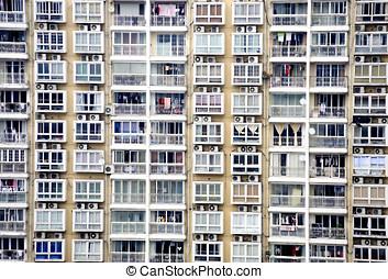 gammal, bostads, byggnad