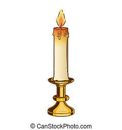 gammal, brännande, årgång, ljusstake, stearinljus, mässing