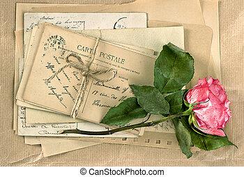 gammal, breven, och, ro, flower., årgång, handwriting., retro designa
