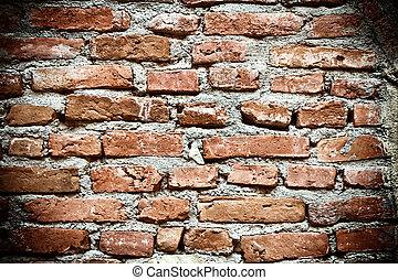 gammal, brickwall