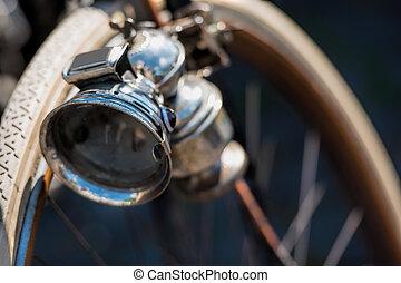 gammal cykel, lampa