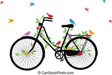 gammal cykel, med, fåglar, vektor