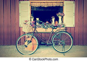 gammal cykel, och, blomningen, in, årgång, stil