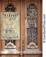 gammal, dörr, med, den, bruten, glasögon