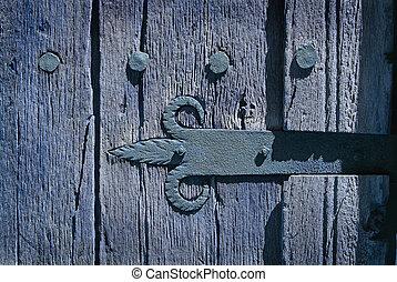 gammal, dörr