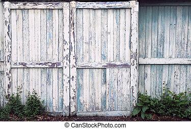gammal, dörrar, ladugård