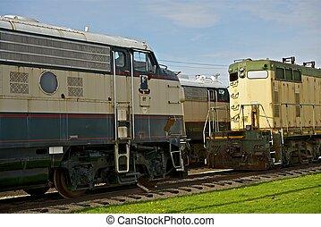 gammal, diesel, lokomotiv