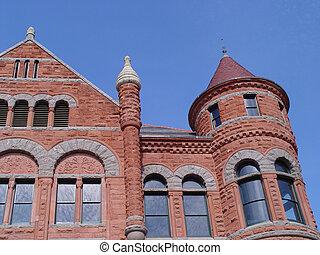 gammal, domstolsbyggnad, röd