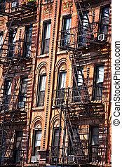 gammal, eld logera, stege, york, fasad, färsk, tegelsten
