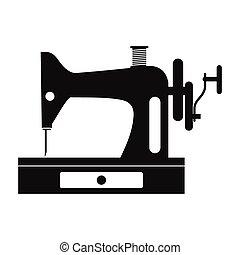 gammal, enkel, sömnad maskin, svart, ikon