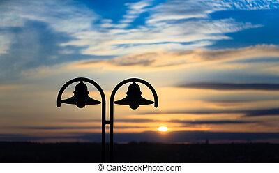 gammal, färgad, sky, solnedgång, bakgrund, tid, lykta, trevlig