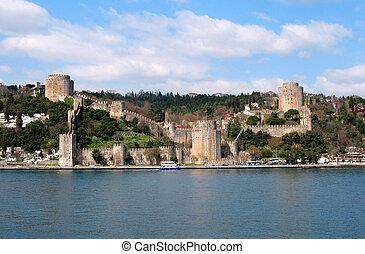 gammal, fästning, in, istanbul