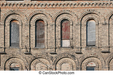 gammal, fönster, fasad