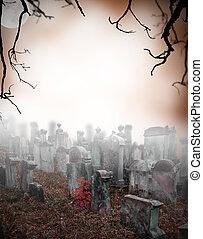gammal, förstörd, kyrkogård, in, mysterium, dimma