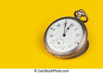 gammal, ficka, klocka
