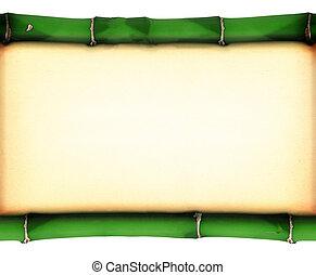 gammal, fläckat, papper, mellan, två, bambu, klistra fast