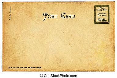 gammal, fläckigt, vykort