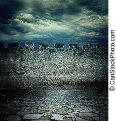 gammal, forntida, vägg