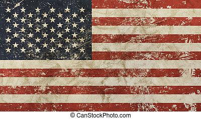 gammal, grunge, årgång, urblekt, amerikan, amerikansk flagga