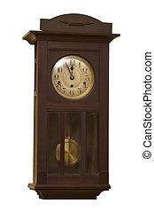 gammal, grunge, antikvitet, vägg klocka