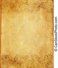 gammal, grunge, papper, bakgrund, med, årgång, viktorian designa