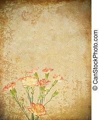 gammal, grunge, papper, och, blomma, bakgrund