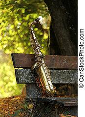gammal, grungy, saxofon