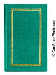 gammal, guld, läder, prydnad, isolerat, bok, grön, bakgrund, vit