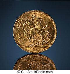 gammal, gyllene, enastående, mynt, på, blå