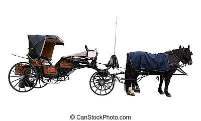 gammal, häst, kaross