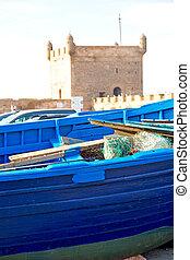 gammal, hamn, abstrakt, afrika, marocko, ved, pir, båt