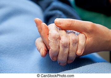 gammal, hand, omsorg, äldre