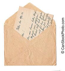 gammal, handskrivet brev