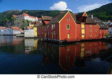 gammal, harborside, trä, anläggningar., bergen, norge