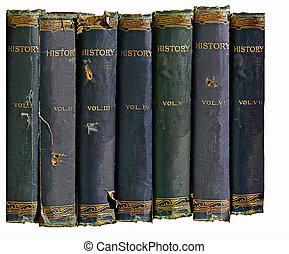 gammal, historia, böcker