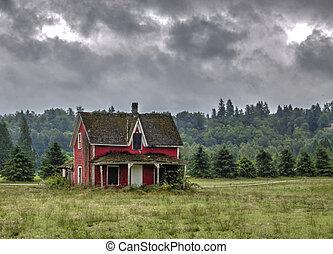 gammal, house., övergiven, röd