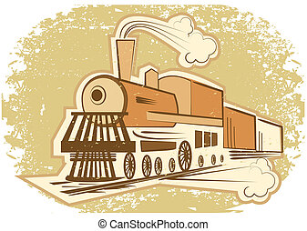 gammal, illustration, ånga, vektor, engine., lokomotiv