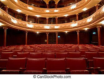 gammal, insida, teater