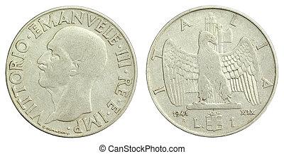 gammal, italiensk, en, lire, mynt, av, 1941